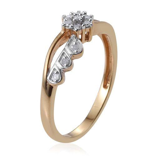 Diamond Flower Promise Silver Ring in 14K Gold Overlay 0.150 Ct.