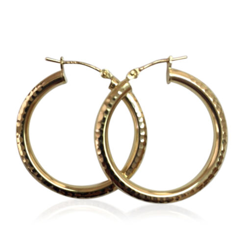 JCK Vegas Collection 9K Y Gold Diamond Cut Hoop Earrings (with Clasp Lock). Gold Wt 2.00 Gms