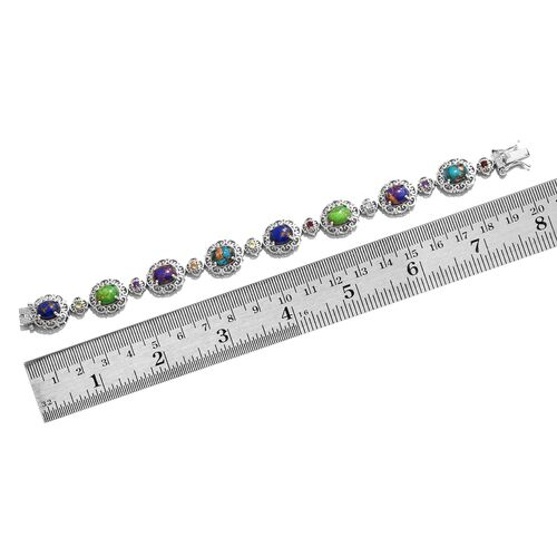 Close Out Deal-Mojave Blue, Purple, Green Turquoise (Ovl), and Multi Gem Stone Bracelet (Size 7.25) in Platinum Overlay Sterling Silver 14.000 Ct.Silver Wt 20.00 Gms