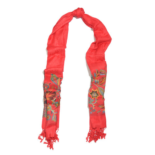 Red, Blue, Golden and Multi Colour Floral Pattern Scarf with Fringes (Size 200x70 Cm)