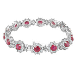 African Ruby (Rnd), White Topaz Bracelet (Size 8) in Rhodium Plated Sterling Silver 30.000 Ct.