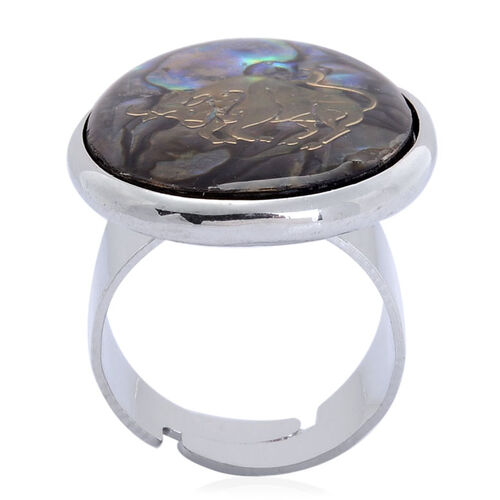Abalone Shell Zodiac Taurus Adjustable Ring in Silver Tone 22.000 Ct.