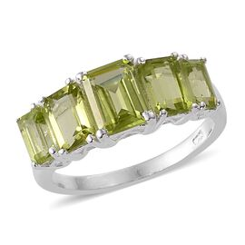Hebei Peridot (Oct 0.95 Ct) 5 Stone Ring in Sterling Silver 3.000 Ct.