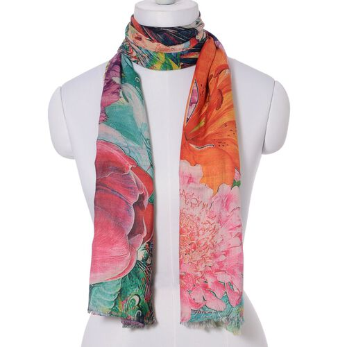 Digital Floral Pattern Multi Colour Scarf (Size 180x70 Cm)