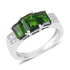 Russian Diopside (Oct 1.00 Ct), Natural White Cambodian Zircon Ring in Rhodium Plated Sterling Silver 2.300 Ct.