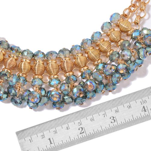 Simulated Mystic Topaz Choker Necklace (Size 13 with 6 inch Extender) in Yellow Gold Tone