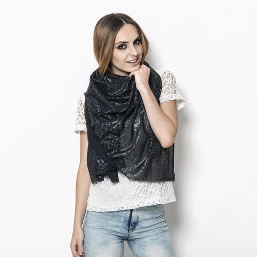 Black Colour Scarf with Silver Glitter (Size 100x180 Cm)