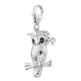 Graduation Owl Charm in Platinum Gold Overlay Sterling Silver