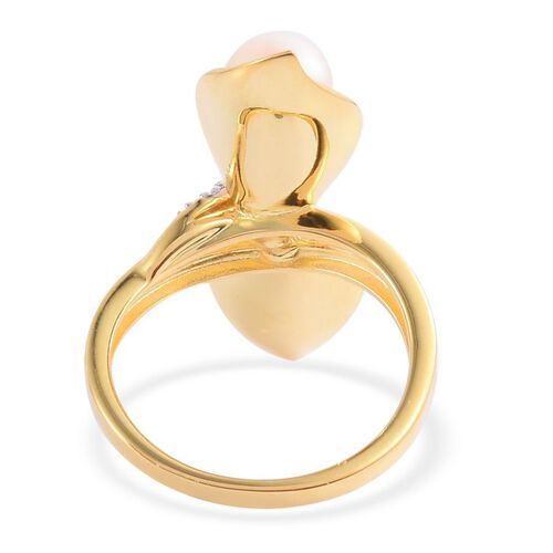 Japanese Akoya Pearl (Rnd), White Topaz Ring in Yellow Gold Overlay Sterling Silver