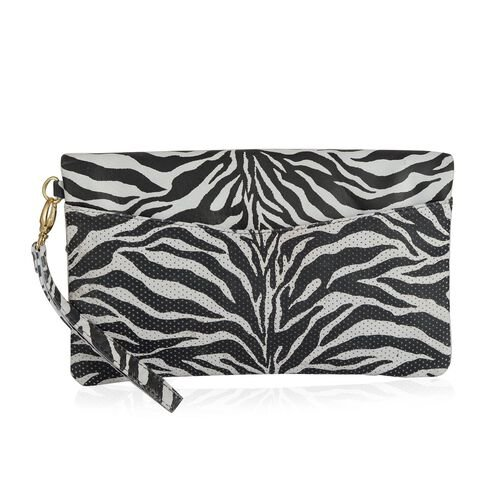 Genuine Leather Black and White Colour Zebra Pattern Handbag with Perforated Bottom Part (Size 30x18 Cm)