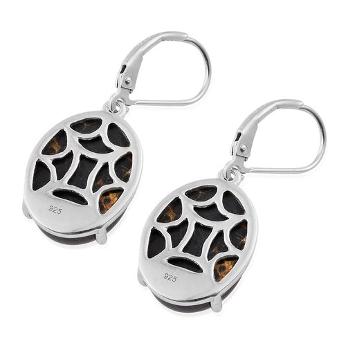 Arizona Mojave Black Turquoise (Ovl) Lever Back Earrings in Platinum Overlay Sterling Silver 16.750 Ct.