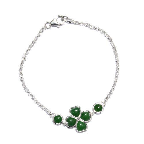 Burmese Green Jade (Hrt) Clover Bracelet (Size 7.5) in Sterling Silver 5.250 Ct.