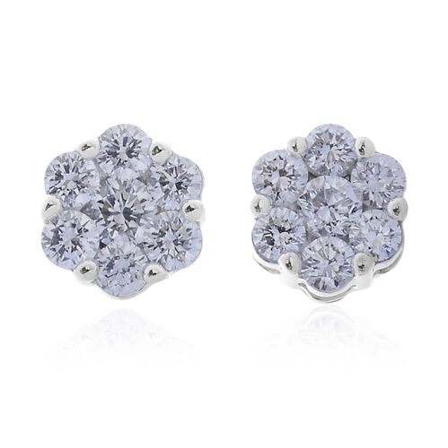 ILIANA 18K W Gold IGI Certified Diamond (Rnd) (S I/G-H) Floral Stud Earrings (with Screw Back) 0.500 Ct.