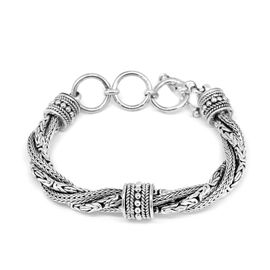 Royal Bali Collection Sterling Silver Tulang Naga and Borobudur Twined Bracelet (Size 7 with 1 inch Extender), Silver wt. 56.20 Gms.