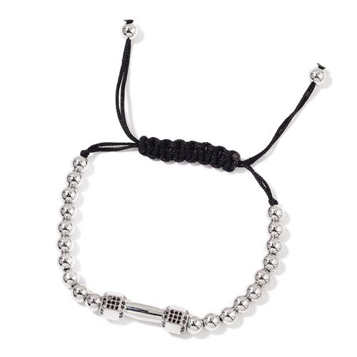 Simulated Black Diamond Adjustable Dumbbell Bracelet (Size 6 to 9) in Silver Tone