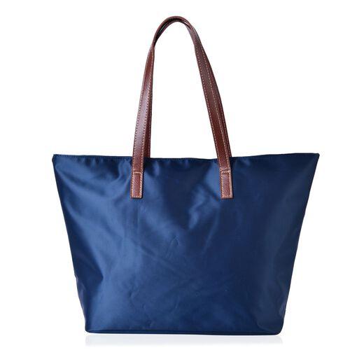 Navy Colour Tote Bag with External Zipper Pocket (Size 45x32.5x30x13 Cm)