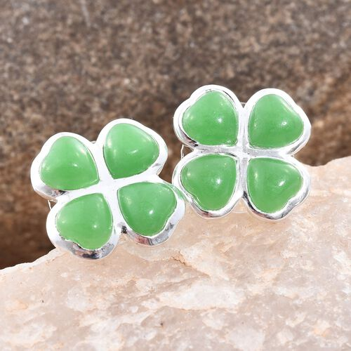 Burmese Green Jade (Hrt) Clover Stud Earrings (with Push Back) in Sterling Silver 8.000 Ct.