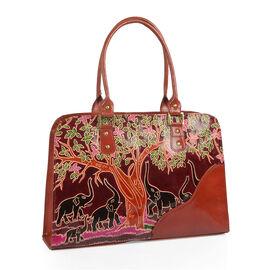 100% Genuine Leather Chocolate Colour RFID Blocker Hand Painted Hand Bag With External Zipper Pocket (41cmX 26cmX 9cm)