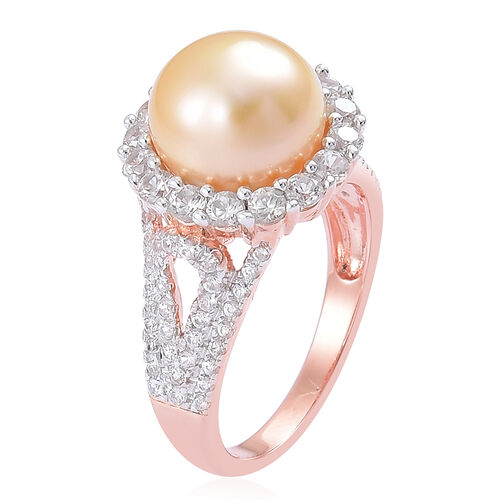 Limited Available- Very Rare South Sea Golden Pearl (Rnd 11-11.5mm), Natural Cambodian Zircon Ring in Rose Gold Overlay Sterling Silver