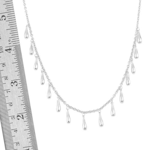 LucyQ Multi Drip Necklace (Size 20) in Rhodium Plated Sterling Silver, Silver wt 14.41 Gms.