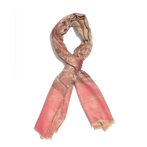 Burgundy, Pink and Golden Colour Heron Bird and Tree Pattern Reversible Jacquard Scarf with Fringes (Size 190X70 Cm)