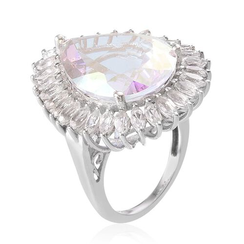 Mercury Mystic Topaz (Pear 19.95 Ct), White Topaz Ring in Platinum Overlay Sterling Silver 23.250 Ct.