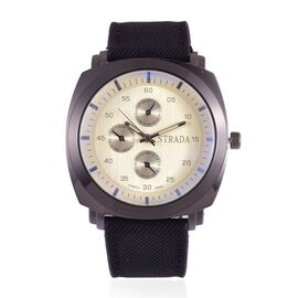 STRADA Japanese Movement Chronograph Look Silver Dial Water Resistant Watch in Black Tone with Stainless Steel Back and Black Strap