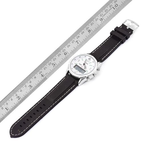 STRADA White Colour Analog and Digital Movement Watch in Silver Tone with Black Colour Silicone Strap