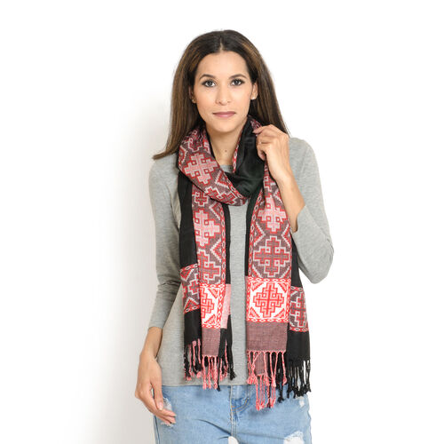 Black and Red Colour Jacqaurd Scarf with Fringes (Size 200x70 Cm)