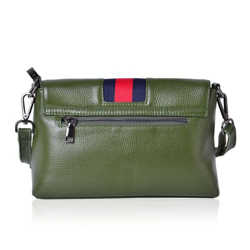 Genuine Leather Green Colour Crossbody Bag with Adjustable and Removable Shoulder Strap (Size 26X17.5X7.5 Cm)
