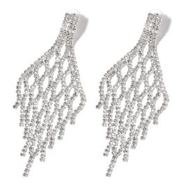 (Option 1) AAA White Austrian Crystal Chandelier Earrings (with Push Back) in Silver Tone