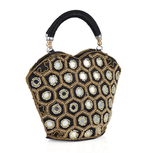 Super Auction - Limited Edition, Hand Made, Hand Set - Golden Colour Beads Embellished Black Colour Handbag (Size 22X18X7 Cm)