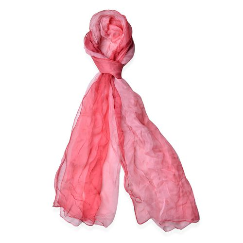 100% Mulberry Silk Gradually Changing Colour Dark and Light Red Colour Scarf (Size 180x60 Cm)