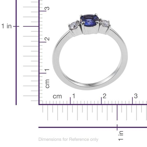 RHAPSODY 950 Platinum 1 Carat AAAA Tanzanite Round, Diamond VS E-F Ring.