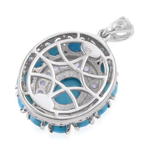 Arizona Sleeping Beauty Turquoise (Ovl 1.30 Ct), Tanzanite Pendant in Platinum Overlay Sterling Silver 3.750 Ct.