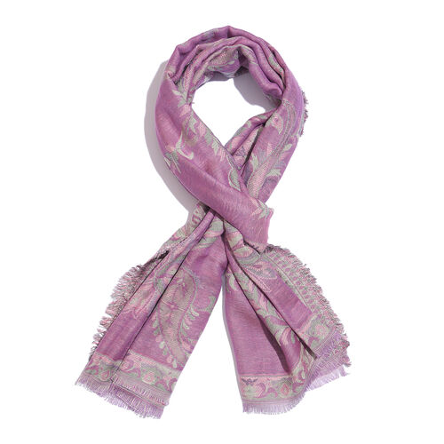 100% Cotton Purple, Cream and Multi Colour Paisley and Leaves Pattern Scarf (Size 180X75 Cm)