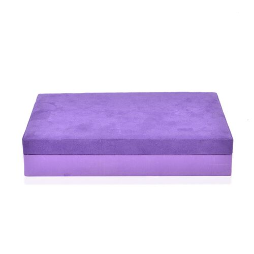 Handcrafted Purple Colour Velvet Jewellery Box. 12 ring rolls, 6 necklace/bracelet holders and 5 sections with pouch pocket.