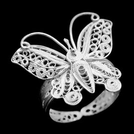 Royal Bali Collection Sterling Silver Butterfly Ring, Silver wt 3.45 Gms.