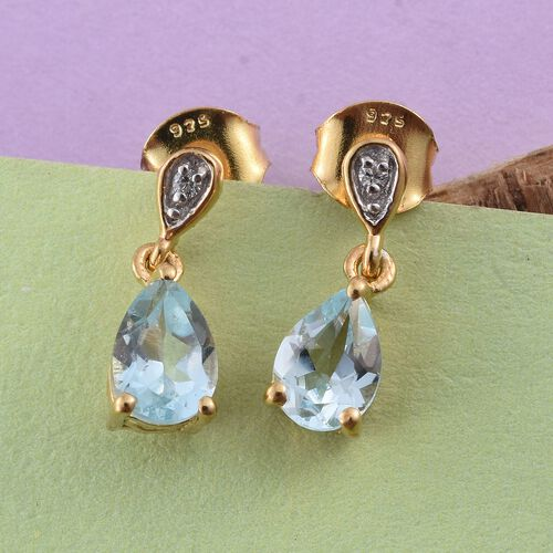 Sky Blue Topaz (Pear), Natural Cambodian Zircon Earrings (with Push Back) in 14K Gold Overlay Sterling Silver 1.500 Ct.