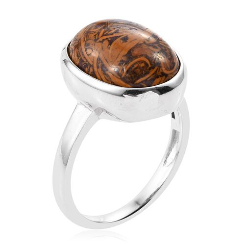 Rare Natural Honey Jasper (Ovl) Solitaire Ring in ION Plated Platinum Bond 9.250 Ct.