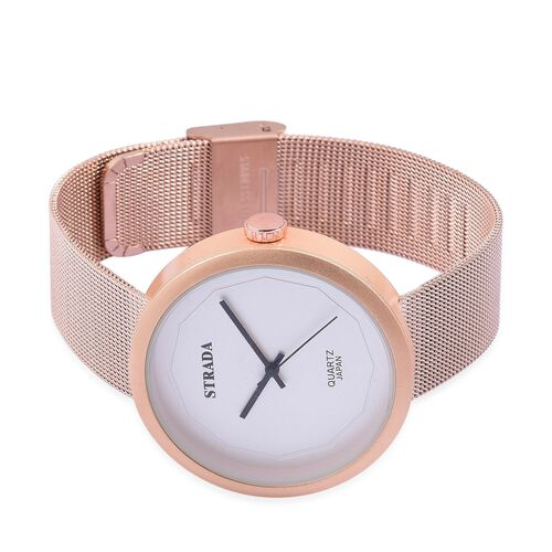 Designer Inspired - STRADA Japanese Movement White Dial Water Resistant Watch in Rose Gold Tone with Stainless Steel Back and Rose Gold Colour Mesh Strap