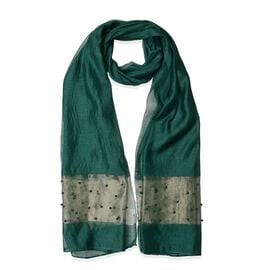 Dark Green and Golden Colour Beads Studded Scarf (Size 190x70 Cm)
