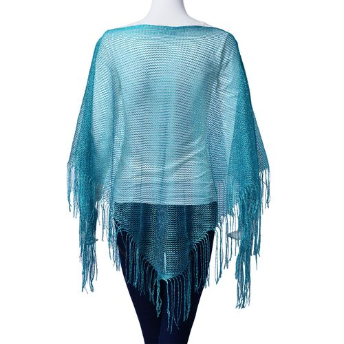 Green Colour Poncho with Tassels (Size 165x60 Cm)