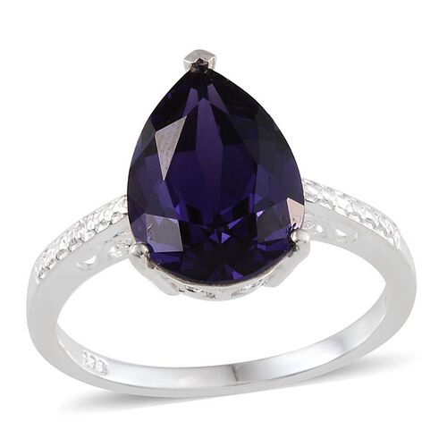 Crystal from Swarovski - Purple Velvet Crystal (Pear) Solitaire Ring in Sterling Silver 5.500 Ct.