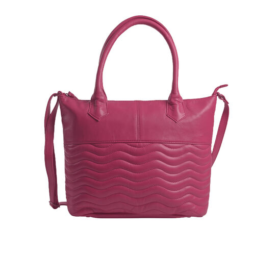 Premium Collection 100% Genuine Leather  Hot Pink Colour RFID Blocker Tote Bag (Size 40x29x8 Cm)