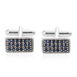 1.75 Ct Kanchanaburi Blue Sapphire and Cambodian Zircon Cufflinks in Platinum Plated Silver