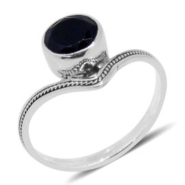 Royal Bali Collection Black Tourmaline (Rnd) Solitaire Ring in Sterling Silver 1.880 Ct.