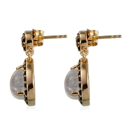Natural Rainbow Moonstone (Pear), Boi Ploi Black Spinel Earrings in 14K Gold Overlay Sterling Silver 4.500 Ct.