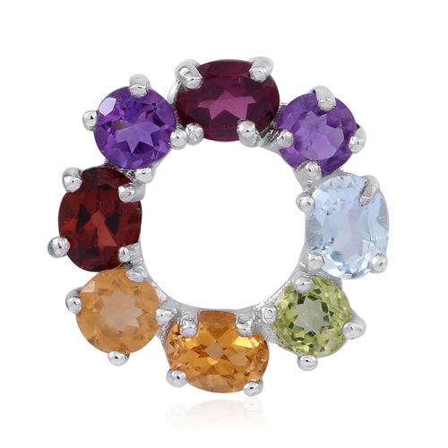 Citrine (Rnd), Hebei Peridot, Sky Blue Topaz, Rhodolite Garnet, Mozambique Garnet and Amethyst Circle of Life Pendant in Rhodium Plated Sterling Silver 2.500 Ct.