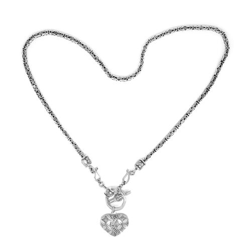 Limited Edition-Royal Bali Collection Sterling Silver Borobudur Necklace (Size 19) with Heart Charm, Silver wt 44.00 Gms.
